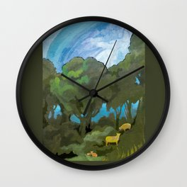 Brewing Storm With Sheep Wall Clock