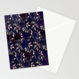 Dark Moody Floral Pattern Stationery Cards