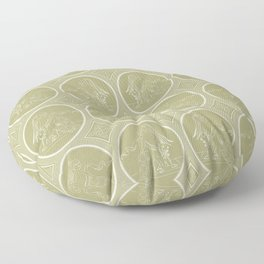 Grisaille Antique Gold Neo Classical Ovals Floor Pillow