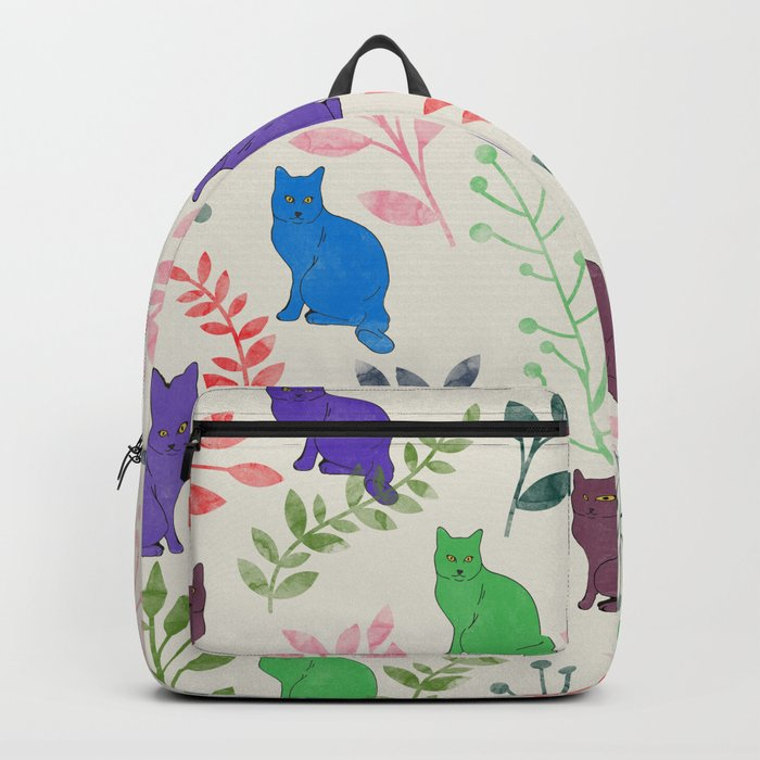 Watercolor Floral and Cat IX Backpack