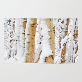 Snow Covered Birch Trees Rug