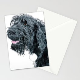 Smiling Black Labradoodle Stationery Cards