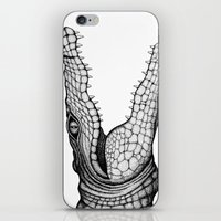 crocodile iPhone & iPod Skins featuring Crocodile by Hannighan