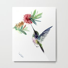 Hummingbird. elegant bird and flowers, minimalist bird art beautiful bird painting Metal Print