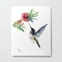 Hummingbird. elegant bird and flowers, minimalist bird art beautiful bird painting Metal Print