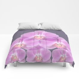 PINK ORCHIDS & GREY FLORAL ABSTRACT ART Comforters
