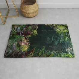 Balinese fairytale scene | Jungle river | Greenery botanical travel photograph in Asia Rug