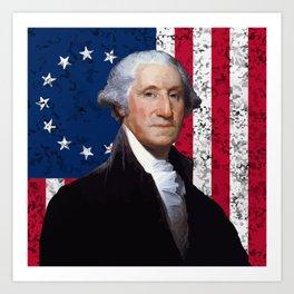 President George Washington and The American Flag Art Print