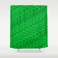 video game Shower Curtains featuring Video Game Controllers - Green by C.Rhodes Design