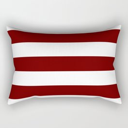 Blood red - solid color - white stripes pattern Rectangular Pillow
