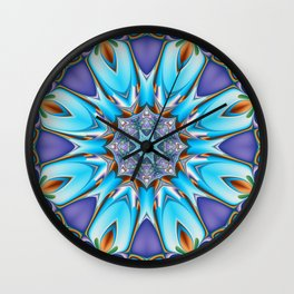 Whimsical bloom in blue, purple and orange Wall Clock