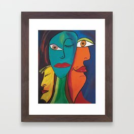 Picasso Inspired Abstract Faces Framed Art Print