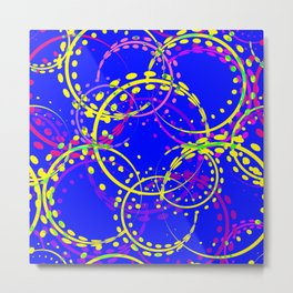 Bright explosive curls and circles of yellow and pink shades on a blue background. Metal Print