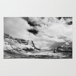 Mountains   Glaciers and clouds   Black and White   photography Rug