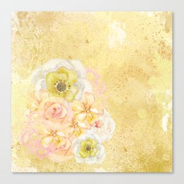Yellow Floral Watercolor Canvas Print