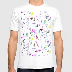 Butterflies Forest White MEDIUM Mens Fitted Tee