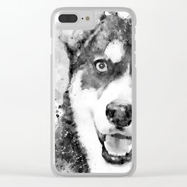 Black And White Half Faced Husky Dog Clear iPhone Case