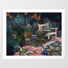 Benchside at Cottage Garden Art Print