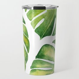 Monstera deliciosa pattern in watercolor Travel Mug