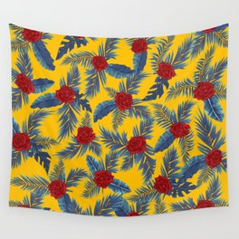 Abstract roses and leaves pattern Wall Tapestry