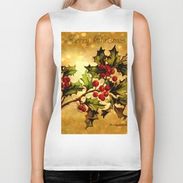 Christmas Holly, Vintage Botanical Illustration Collage Biker Tank