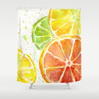 fruit Shower Curtains featuring Fruit Watercolor by Olechka