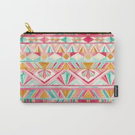Spring Gems // Pink Gold and Turquoise Geometric Pattern Carry-All Pouch