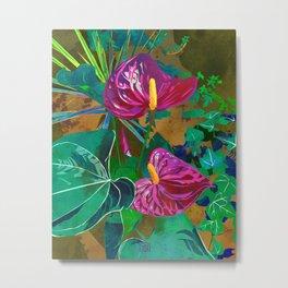Pink Anthurium Tropical Flower Watercolor Art Metal Print