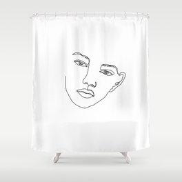 Face one line illustration - Eris Shower Curtain