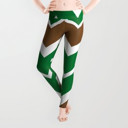 Big Chevron:  Kelly Green + Chocolate Brown Leggings