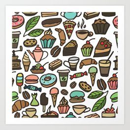 Coffee and pastry. Art Print