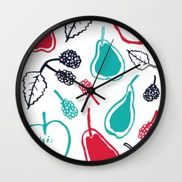 Apples and pears in blue and red Wall Clock