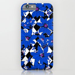 HARLEQUIN AND POINSETTIAS BLACK AND WHITE AND BLUE iPhone Case