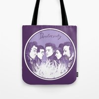 three of the possessed Tote Bags featuring Dostoevsky The Possessed 1872 by Kisa's Lychee