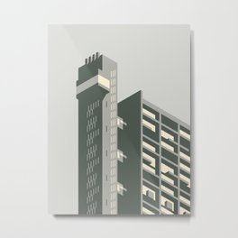 Trellick Tower London Brutalist Architecture - Grey Metal Print