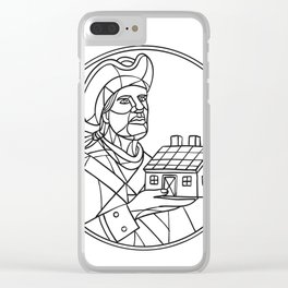American Patriot House Mosaic Black and White Clear iPhone Case