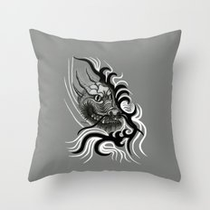 Dragon in Tattoostyle , black - white and grey Design Throw Pillow