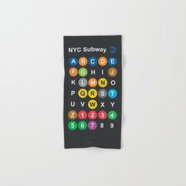 New York City subway alphabet map, NYC, lettering illustration, dark version, usa typography Hand & Bath Towel