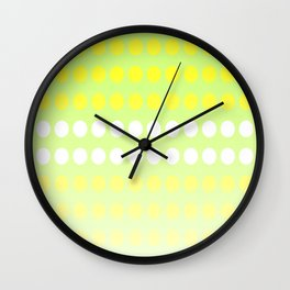 Dots in a Row in Shades of Yellow and Green Wall Clock
