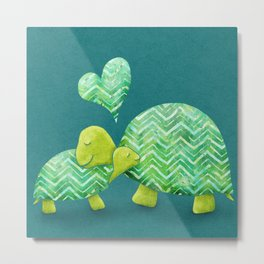 Sweet Turtle Hugs with Heart in Teal and Lime Green Metal Print