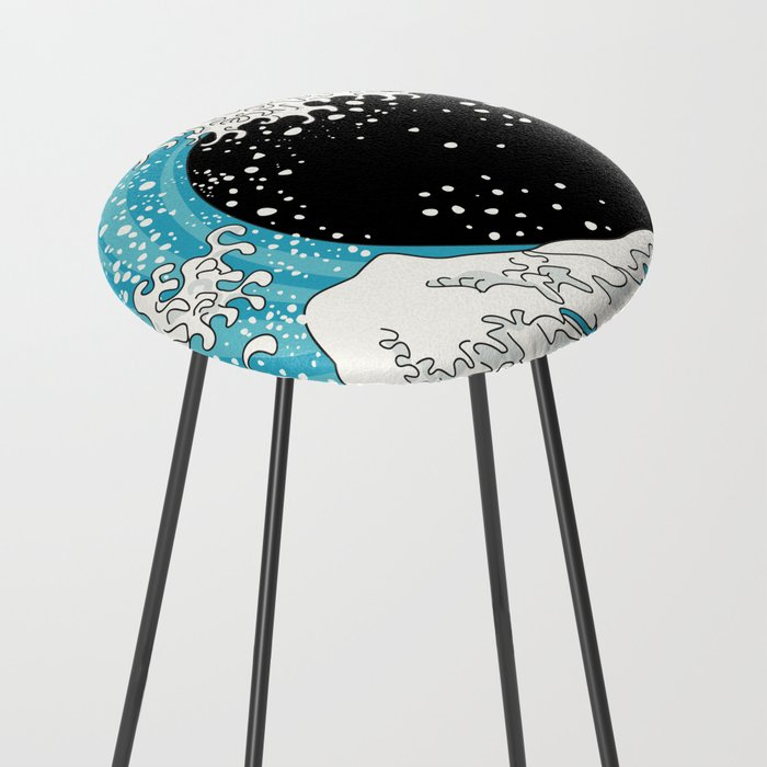 The Great Wave (night version) Counter Stool