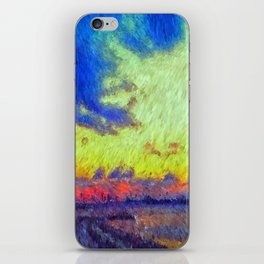 colorful sunset impressionist painting iPhone Skin