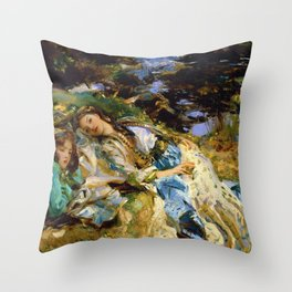 1907 Classical Masterpiece 'The Brook' by John Singer Sargent Throw Pillow