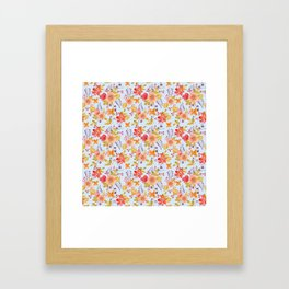 Flower Watercolor Pattern Framed Art Print