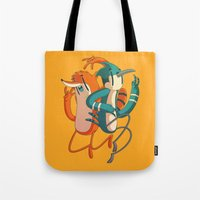 regular show Tote Bags featuring Mordecai & Rigby // Regular Show by Daniel Mackey