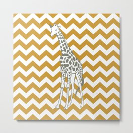 Sudan Brown Safari Chevron with Pop Art Giraffe Metal Print