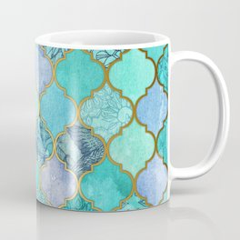 Cool Jade & Icy Mint Decorative Moroccan Tile Pattern Coffee Mug