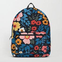 Bright floral pattern. Vintage flowers. Backpack