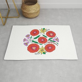 Hungarian embroidery inspired pattern white Rug