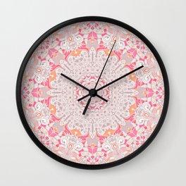 BOHO SUMMER JOURNEY MANDALA - PASTEL ROSE PINK Wall Clock